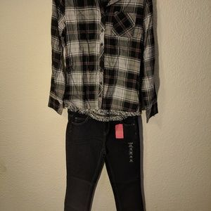 2 piece black and white plaid outfit